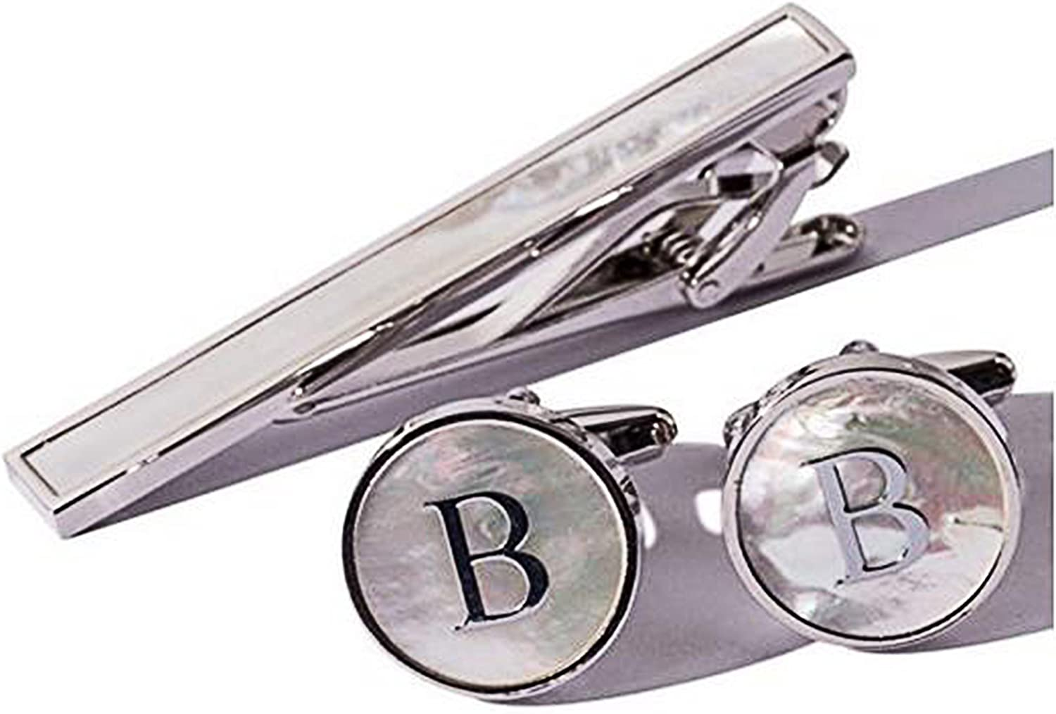 Digabi Platinum Plated 18K Rectangular Mother of Pearl Tie Clip and Initial Letter Cufflinks Set with Nice Box