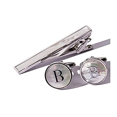 8d136488f835 Digabi Platinum Plated 18K Rectangular Mother of Pearl Tie Clip and Initial  Letter Cufflinks Set with