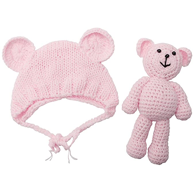 Amazon.com  WONGYEE Newborn Baby Bear Hat Beanie with Bear Dolls ... 56e909a88c8