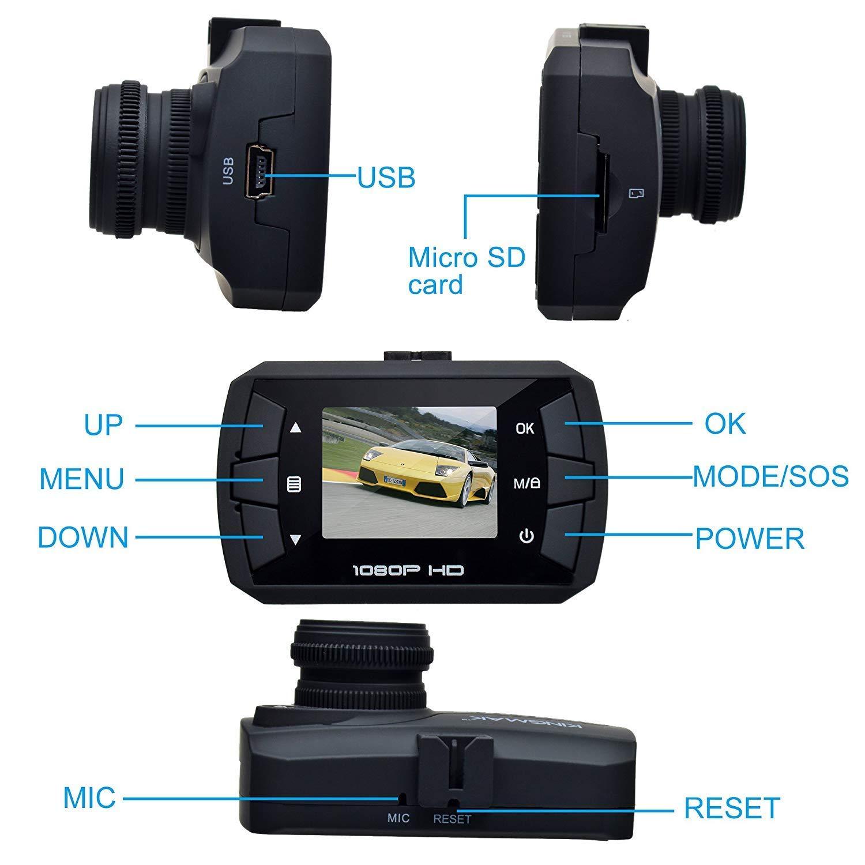 Registro Continuo G-Sensor Dash CAM Gran /Ángulo DASHCAM TOGUARD Mini Full HD 1080P C/ámara De Coche Una Tarjeta Micro SD 32 GB Incluidas
