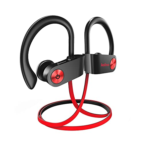 Kalinco Bluetooth Earphones, Wireless Earbuds In-ear IPX7 Waterproof Headphones Sports Built-Mic Headset with 8 Hours Play Time for Running, Workout, Phones and iPad (Grey/Red)