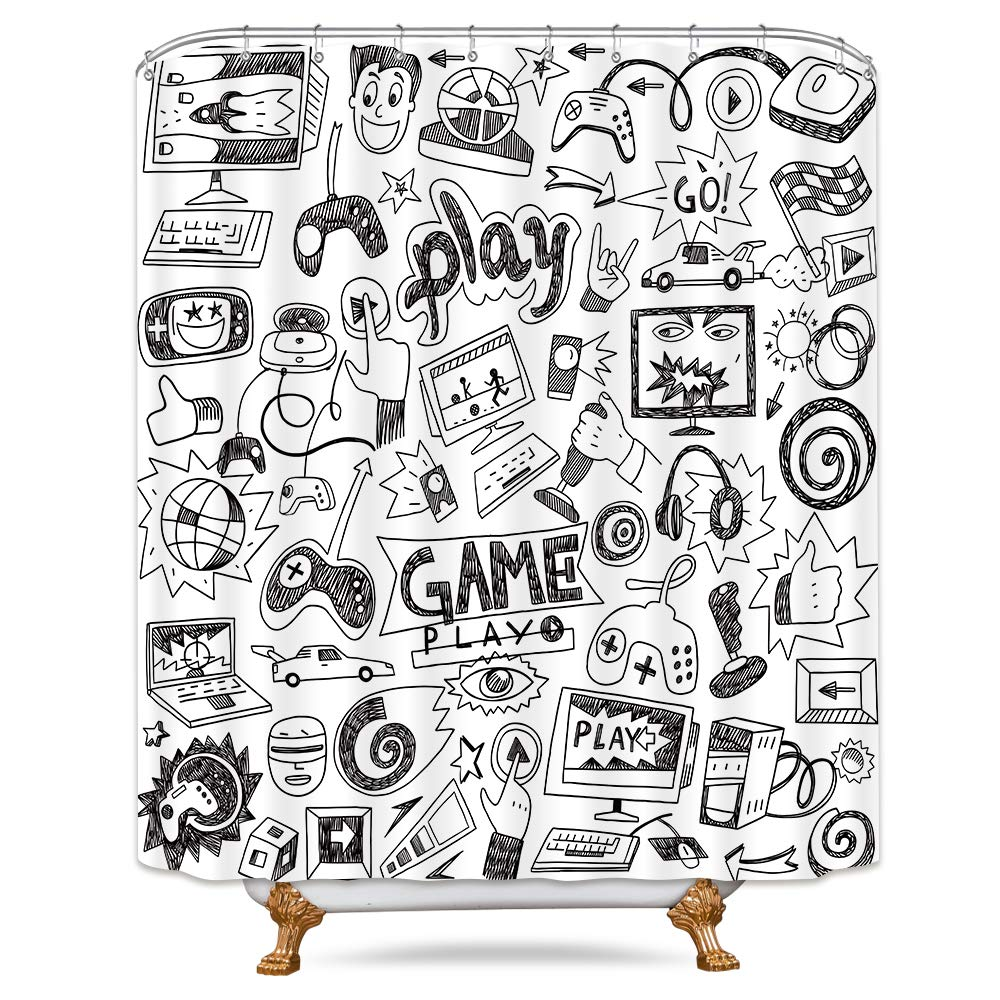 Riyidecor Kids Video Game Boys Shower Curtain Weighted Hem Black and White Sketch Funny Graffiti Decor Fabric Panel Bathroom Set 72x72 Inch 12-Pack Plastic Shower Hooks