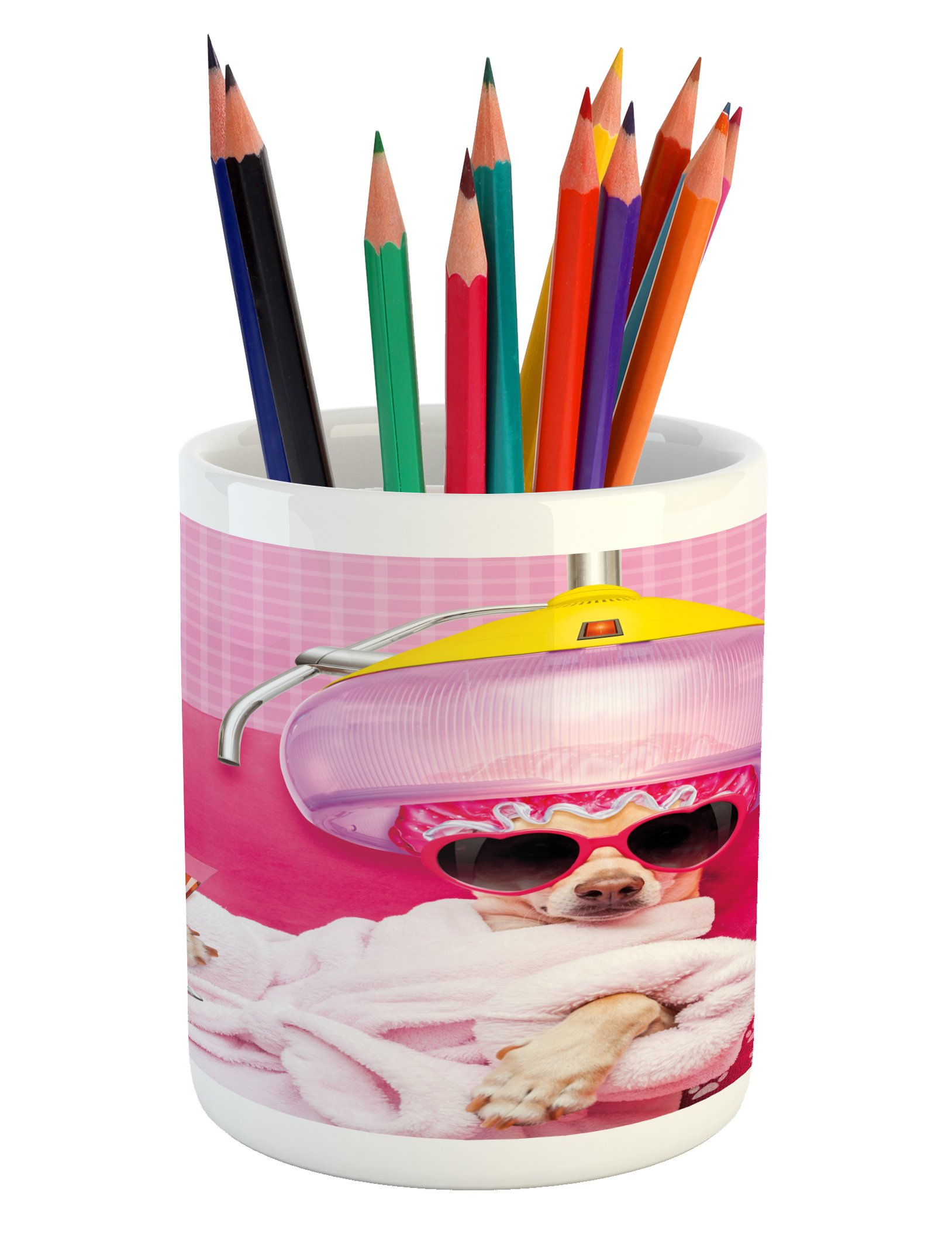 Lunarable Funny Pencil Pen Holder, Chihuahua Dog Relaxing and Lying in Wellness Spa Fashion Puppy Comic Print, Printed Ceramic Pencil Pen Holder for Desk Office Accessory, Magenta Baby Pink