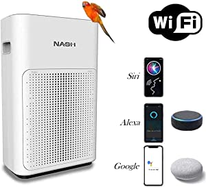 Nash Smart WiFi Air Purifier, Voice Control Directly By Phone or Smart Speaker, CADR 200 For Large Rooms up to 350sqft, True H11 HEPA+, Compatible with App, Alexa, Siri, Google Assistant & Google Home, AP-1 PureSmart