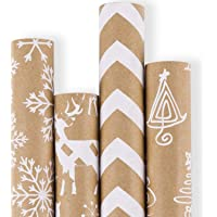 RUSPEPA Wrapping Paper - Brown Kraft Paper with 3D White Christmas Elements Xmas Designs Print Paper - 4 Roll - 30 Inch x 10Feet Per Roll