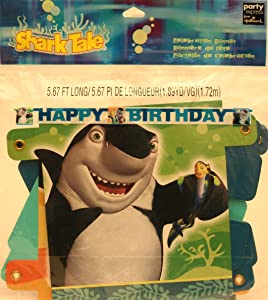 """Shark Tale Party Supplies """"Happy Birthday"""" Banner 5.67 Ft Long"""