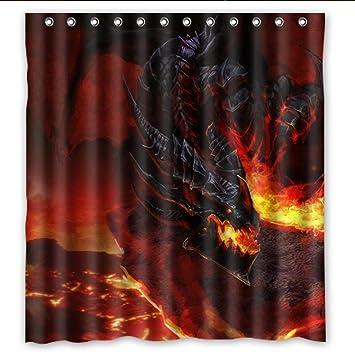 SANMOU Custom Fire Dragon Shower Curtain Waterproof Polyester Bathroom 66quot