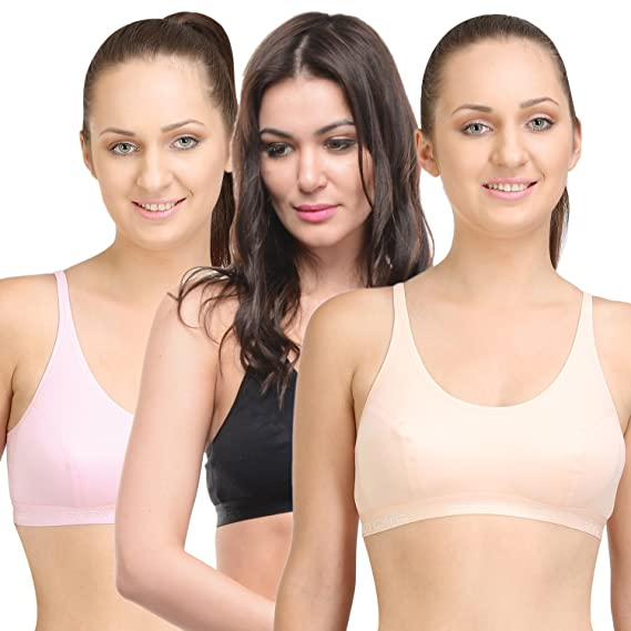 108f8c2e6c479 BODYCARE Pack of 3 Sports Bra in Orange-Pink-Black Color - E1608PCPIB   Amazon.in  Clothing   Accessories