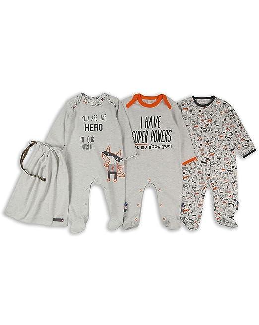The Essential One - Bebé Niños Superhéroe Pijama - Paquete de 3 - Gris - 3