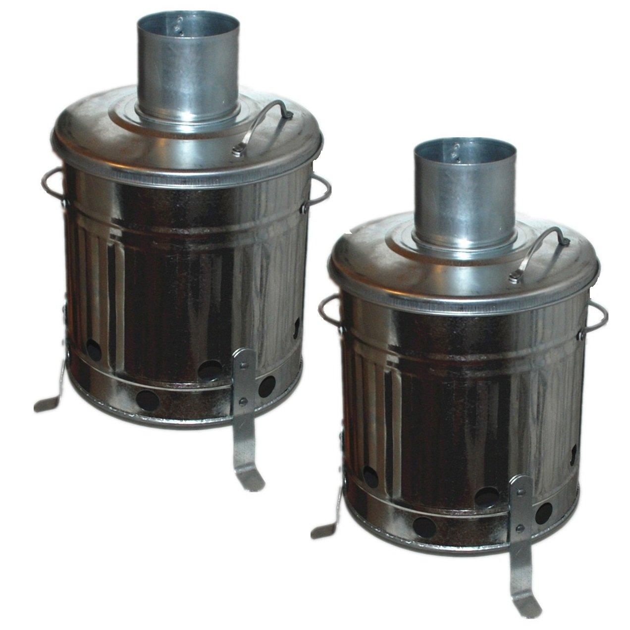 2 x CrazyGadget Mini Garden Incinerator Small Fire Bin Galvanised 15 Litre 15L Burning Wood Leaves Paper