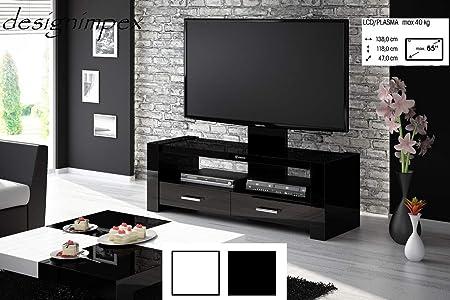 Mesa de Televisión H de 555 Negro Brillante TV Armario TV Rack TV Muebles LCD Incluye soporte de TV: Amazon.es: Hogar