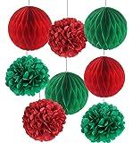 Paquete de 8 bolas de papel Sunbeauty de seda para decoración de Navidad, color rojo y verde, pompones