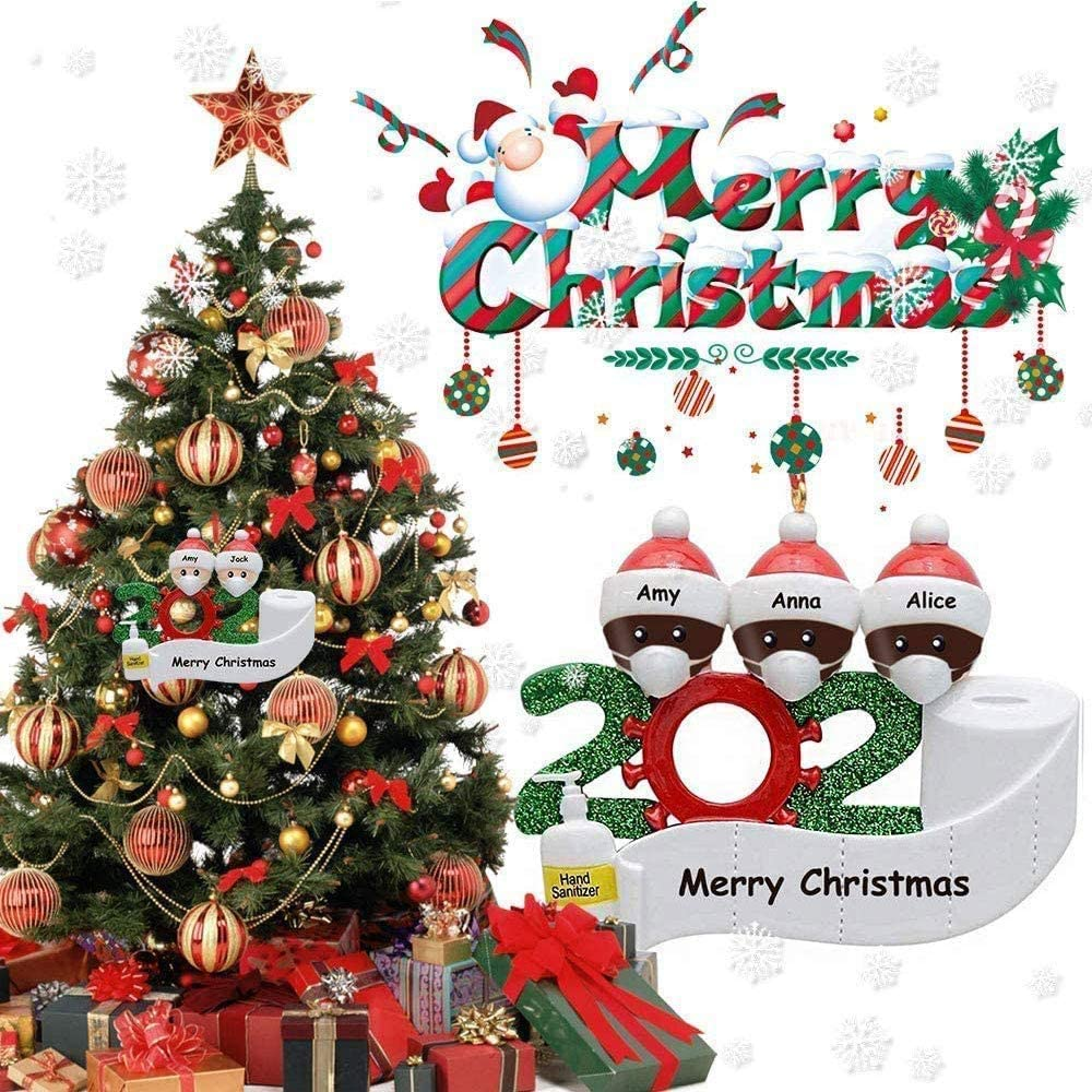 Family of 2+4 Myriad Choices 2020 Christmas Ornament Survived Family Personalized Xmas Tree Pendant Hanging Ornaments Gifts Black
