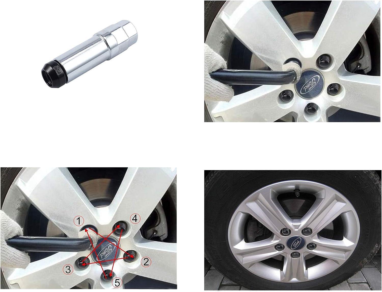eSynic M12x1.5 Alloy Wheel Hex Locking Lug Nuts 20PCS Locking Wheel Nuts 1PCS Blot Key Compatible for Ford Focus Black