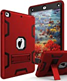 TIANLI Case for iPad 9.7 2018,Case for iPad 6th Generation Three Layer Heavy Duty Shockproof Protective Hybrid High Impact Resistant Cover with Kickstand for iPad 2017/2018,Red Black