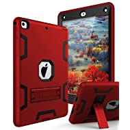 TIANLI iPad 6th Generation Cases,iPad 2018 Case,iPad 9.7 inch Case Three Layer Heavy Duty Shockproof Protective Hybrid High Impact Resistant Cover with Kickstand for iPad A1893/A1954/A1822/A1823,Red