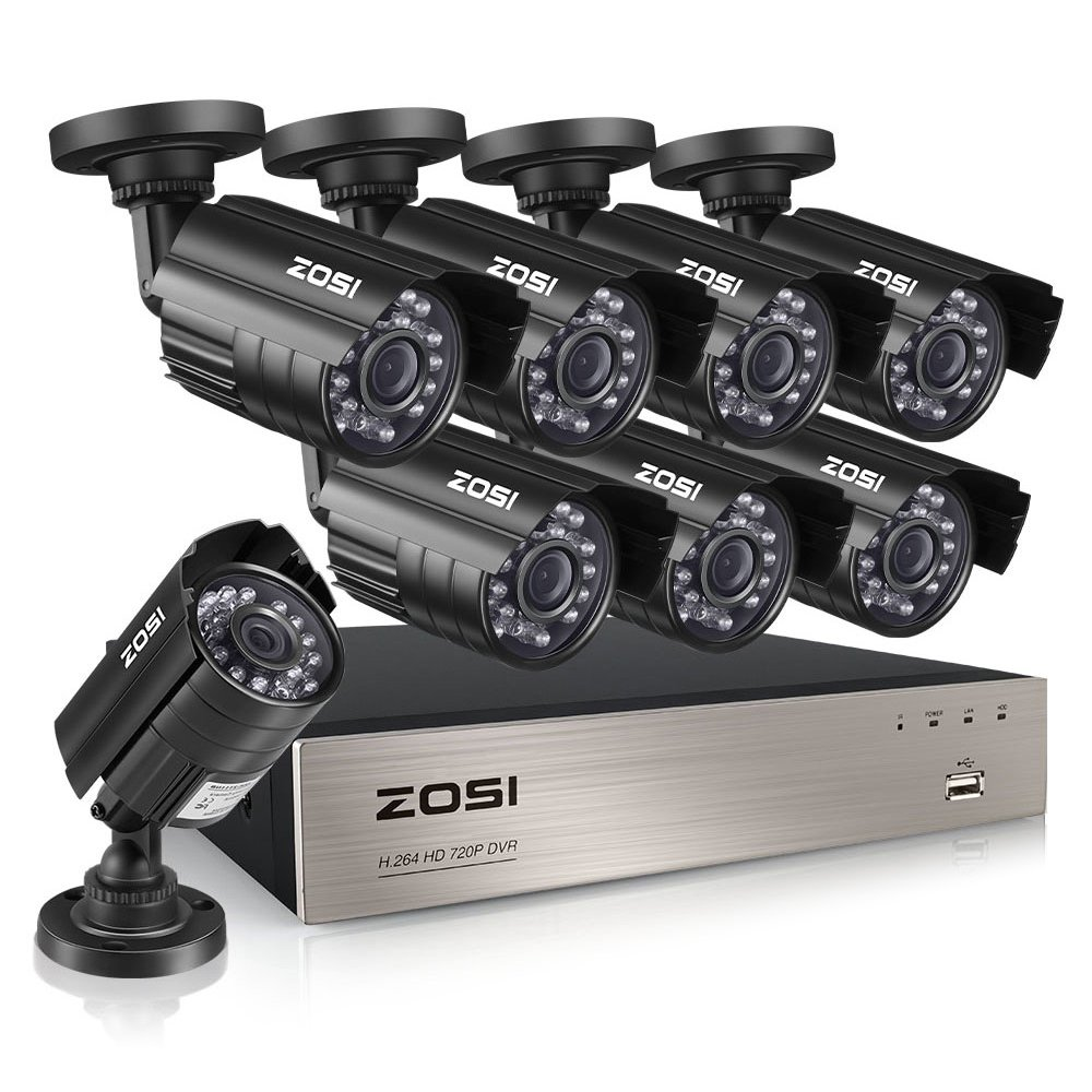 ZOSI 8-Channel HD-TVI 720P 1080N Video Security DVR Surveillance Camera Kit 8x 1280TVL Indoor Outdoor IR Weatherproof Cameras 65feet 20m Night Vision with IR Cut NO Hard Drive by ZOSI
