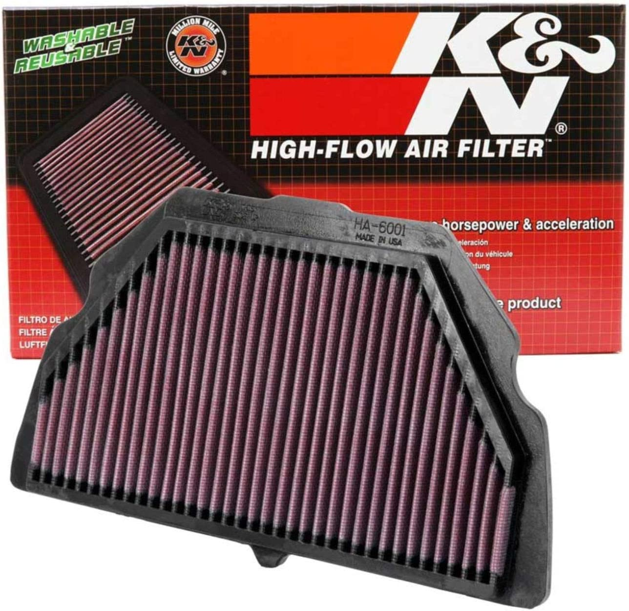 K and N HA-6001 Motorcycle Replacement Air Filter