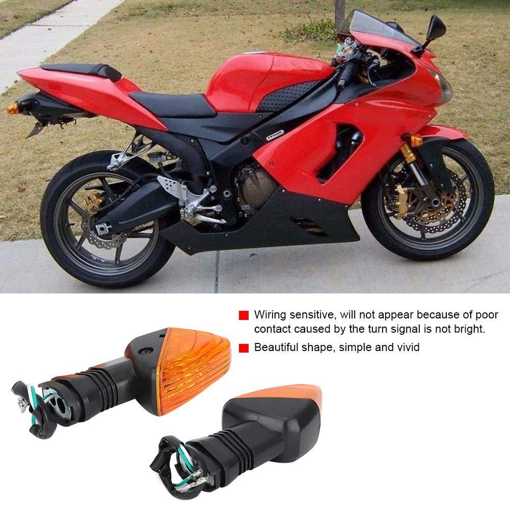 Duokon 2PCS Luz de señal de giro Motocicleta Lámpara de señal de giro Accesorios para NINJA ZX-6R 600,1997-2006(negro y amarillo)