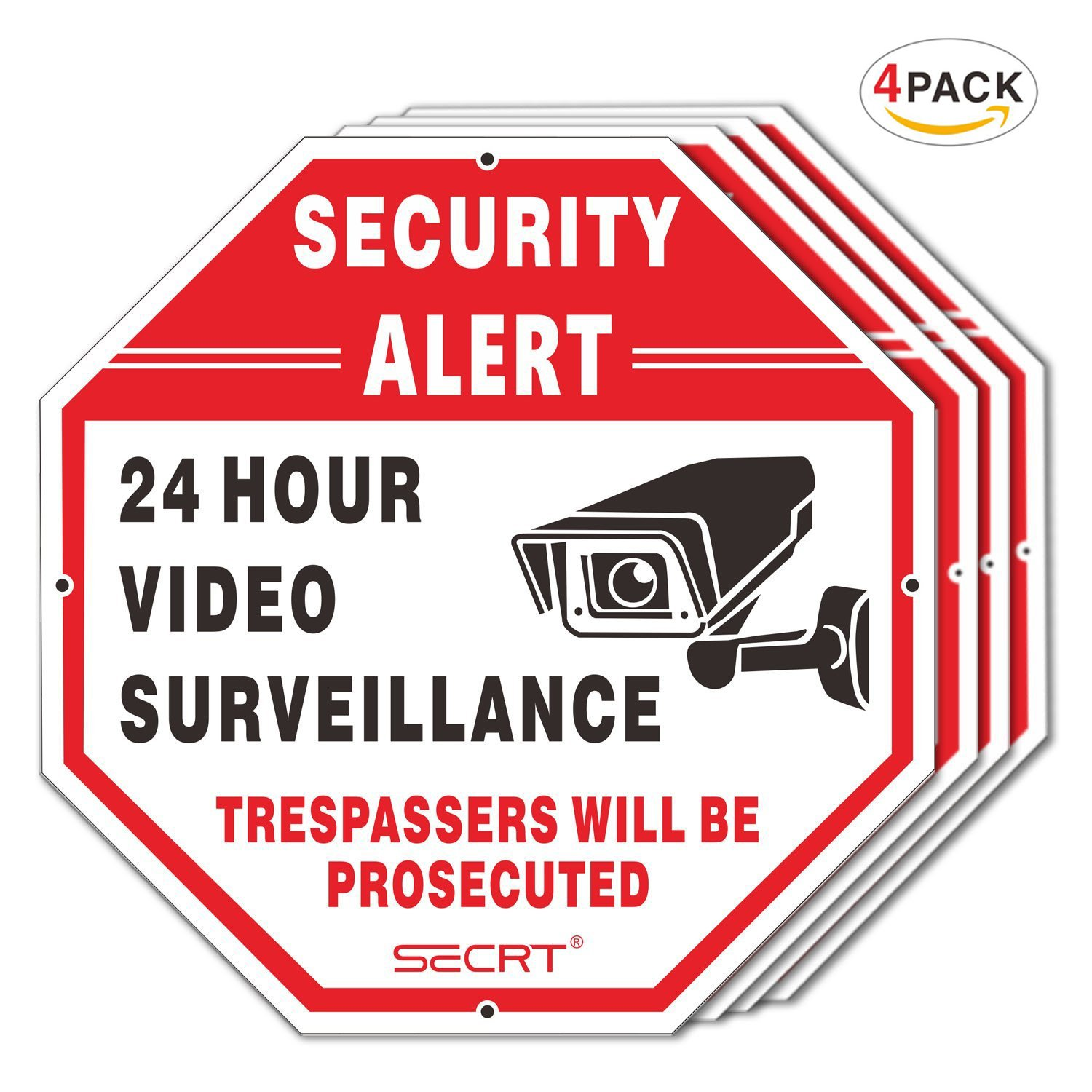 SECRT 4-Pack Video Surveillance Sign, No Trespassing Metal Warning, Octagon 12''x12'' 40Mil Thick Aluminum for Home Business CCTV Security Camera, UV Protected & Waterproof (Reflective) by SECRT