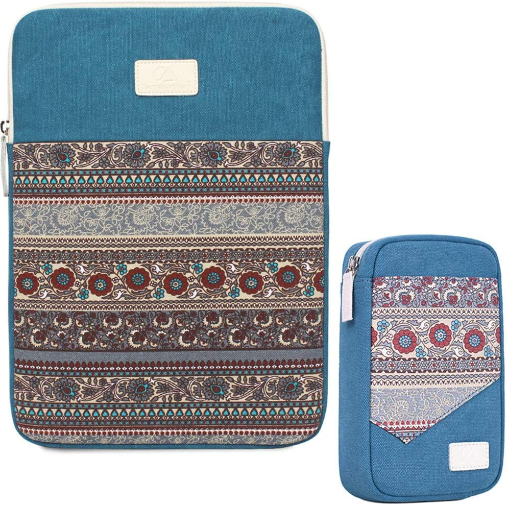 11.6 Inch Laptop Sleeve 11 Inch Bohemian Canvas Protective Notebook Bag Computer Case Cover for MacBook Pro MacBook Air Chromebook Acer Dell HP Samsung Sony + Cable Organizer (Vertical, Blue)