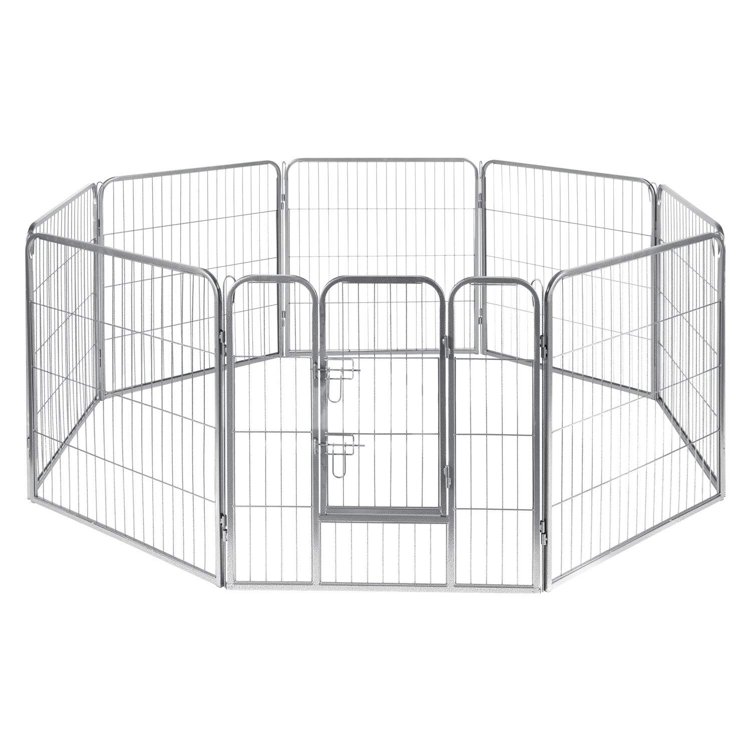 Pet Exercise Pen Tube Gate w/ Door - (8 Panel Playpen) Heavy Duty Folding Metal Out-Door Fence - 40'' Playpen by Paws & Pals