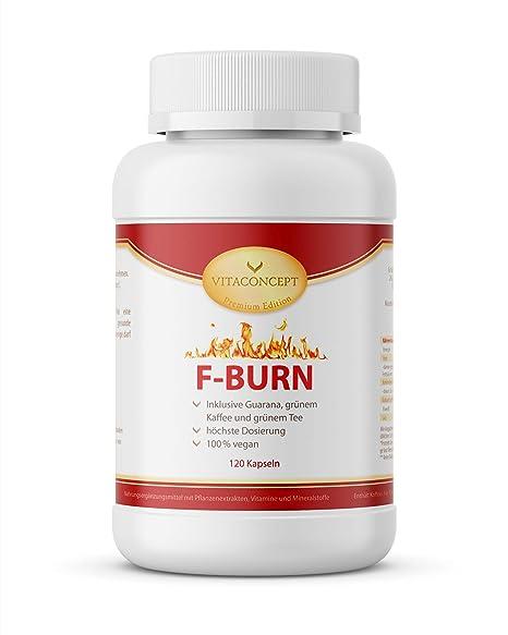 F-BURN * 120 Kapseln * Guarana, grüne Kaffeebohnen, grüner Tee, schwarzer Pfeffer * Fettverbrennung & gesteigerter Kalorienve
