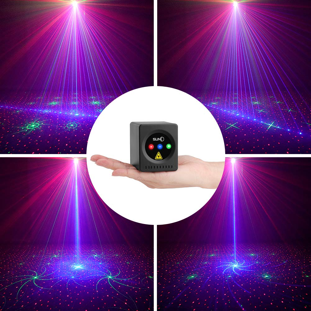 SUNY Mini Portable Cordless Laser Lights Rechargeable 8 RGB Patterns Gobo Projector Sound Activated Music DJ Party Lights for Outdoor Travel Camping Disco Live Show Home Dance Holiday Birthday Gift by SUNY