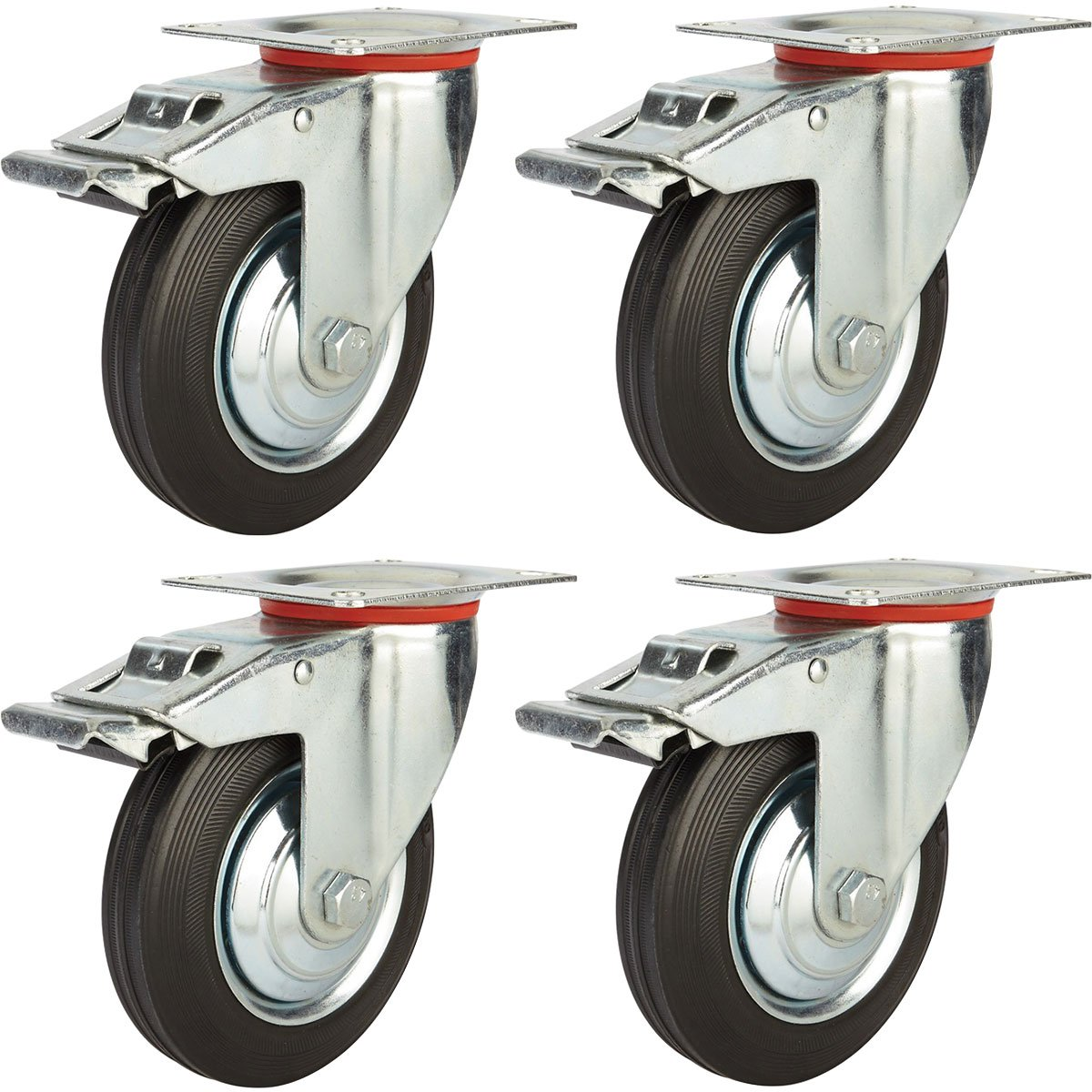 Online Best Service 4 Pack 5'' Swivel Caster with Brake Wheels Rubber Base with Top Plate & Bearing Heavy Duty