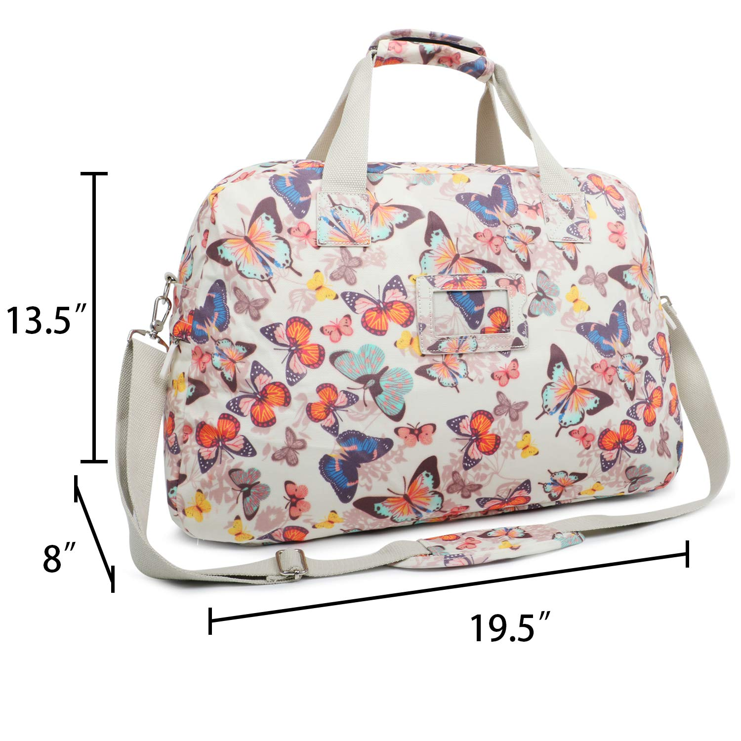 Oflamn 29L Large Floral Duffle Bag Water Resistant Canvas Travel Weekender Overnight Gym Bag for Women Butterfly