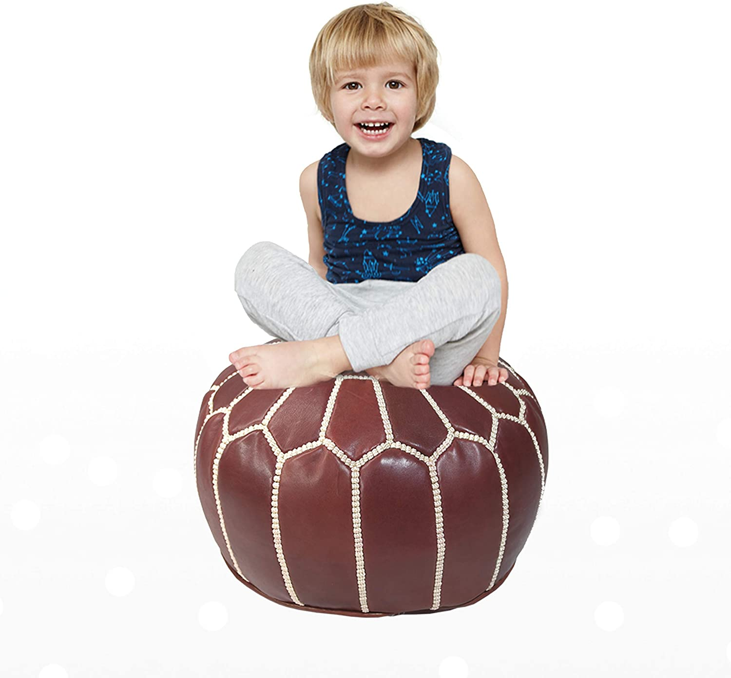 Marrakesh Gallery Moroccan Kids Pouf Cover - Round & Small Ottoman Leather Cover Pouf - Bohemian Kids Room Decor - Hassock & Ottoman Footstool Footrest Under Desk - Unstuffed (Maroon)