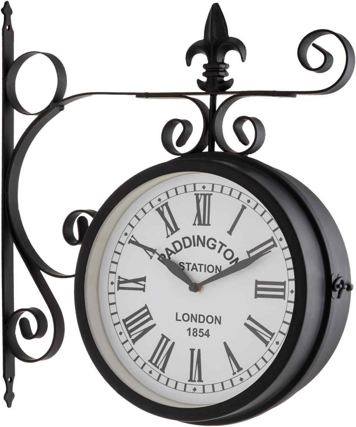 Blumfeldt Paddington Reloj de Pared (diseño Retro Siglo XIX, Esfera estanca 23 cm diámetro, 2 Caras, números Romanos Grandes, Material Resistente Exterior jardín, Carcasa metálica Negro Mate)