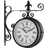 Blumfeldt Paddington Reloj pared vintage diseño estacion de tren siglo XIX (esfera estanca Ø23cm diametro, 2 caras, números romanos grandes, estilo retro, material resistente exterior jardín, carcasa metálica negro mate)