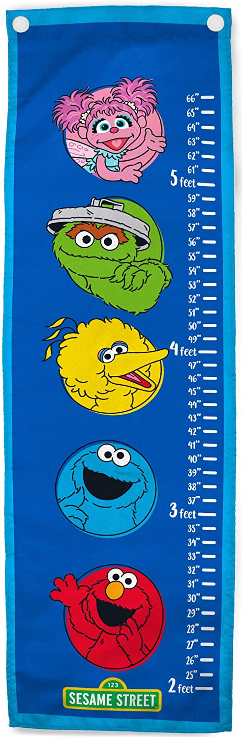 Jay Franco Sesame Street The Gang Growth Chart – Kids Removeable Wall Décor Features Elmo, Cookie Monster, Big Bird, Oscar The Grouch (Official Sesame Street Product)