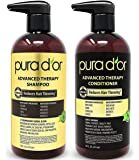 PURA D'OR Advanced Therapy System Shampoo & Conditioner - Increases Volume, Strength and Shine, No Sulfates, Made with…