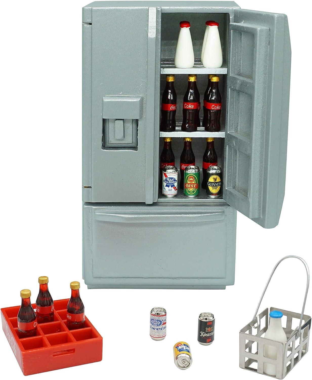 SAMCAMI Dollhouse Furniture Kitchen Refrigerator Set (26 Pieces) - Three Doors Open Wooden Fridge, 1 12 Scale Miniature Dollhouse Accessories (Silver)