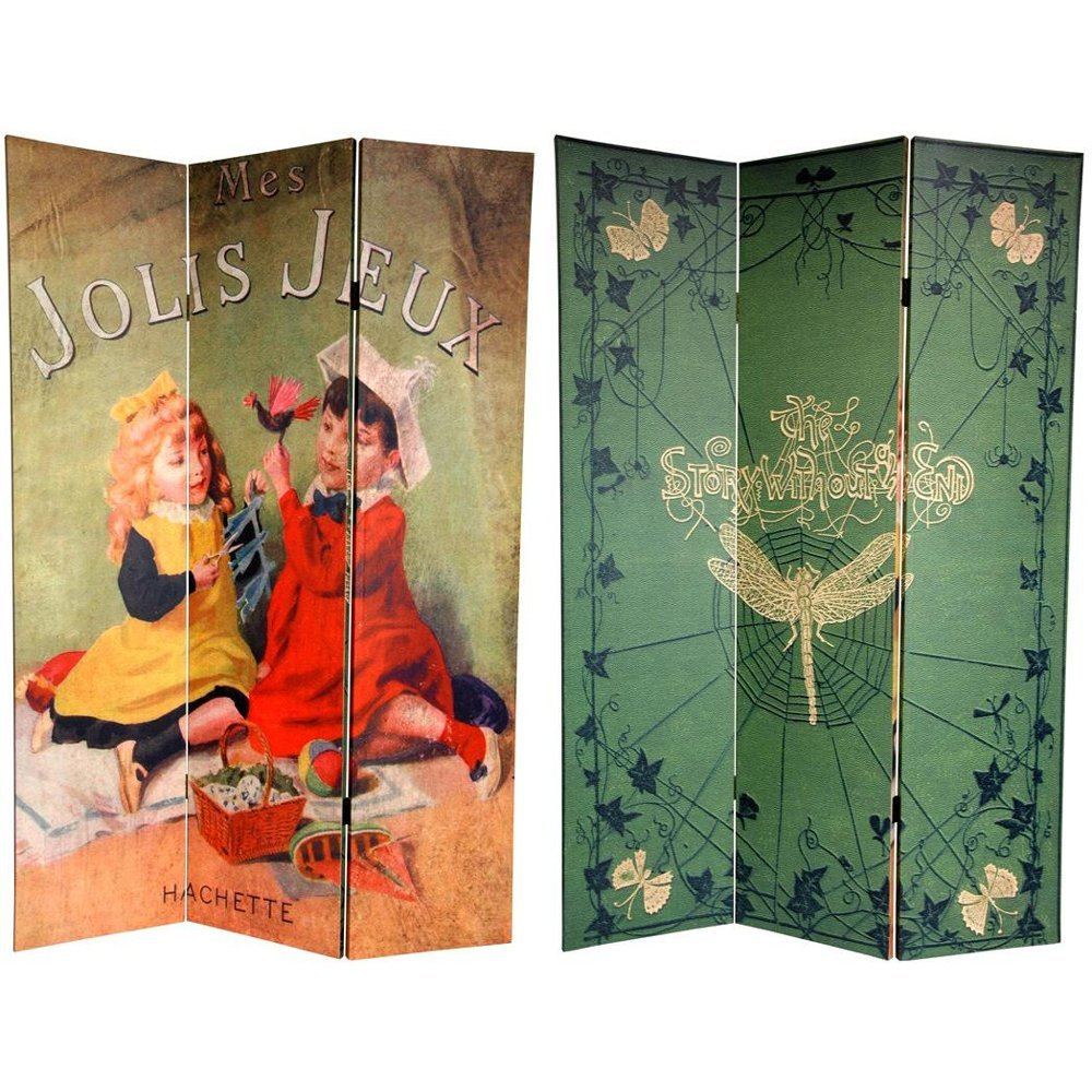 Oriental Furniture 6 ft. Tall Double Sided Children's Stories Canvas Room Divider