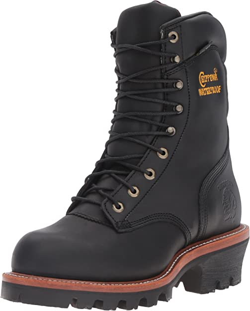 """chippewa men's 9"""" waterproof insulated steel-toe eh logger boots"""