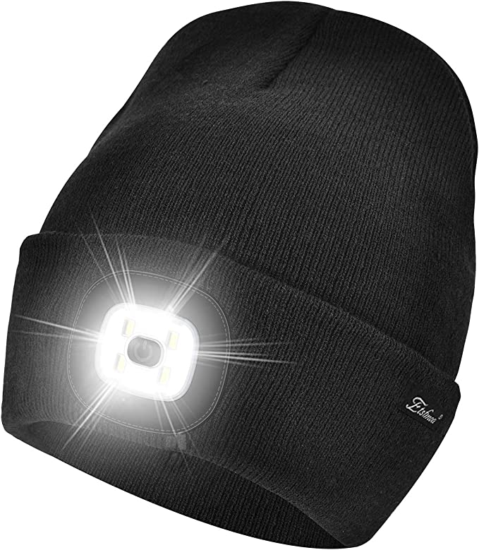 Etsfmoa Unisex LED Beanie Hat with Light, Gifts for Men Dad Him and Women USB Rechargeable Winter Knit Lighted Headlight Headlamp Cap (Black)   Amazon