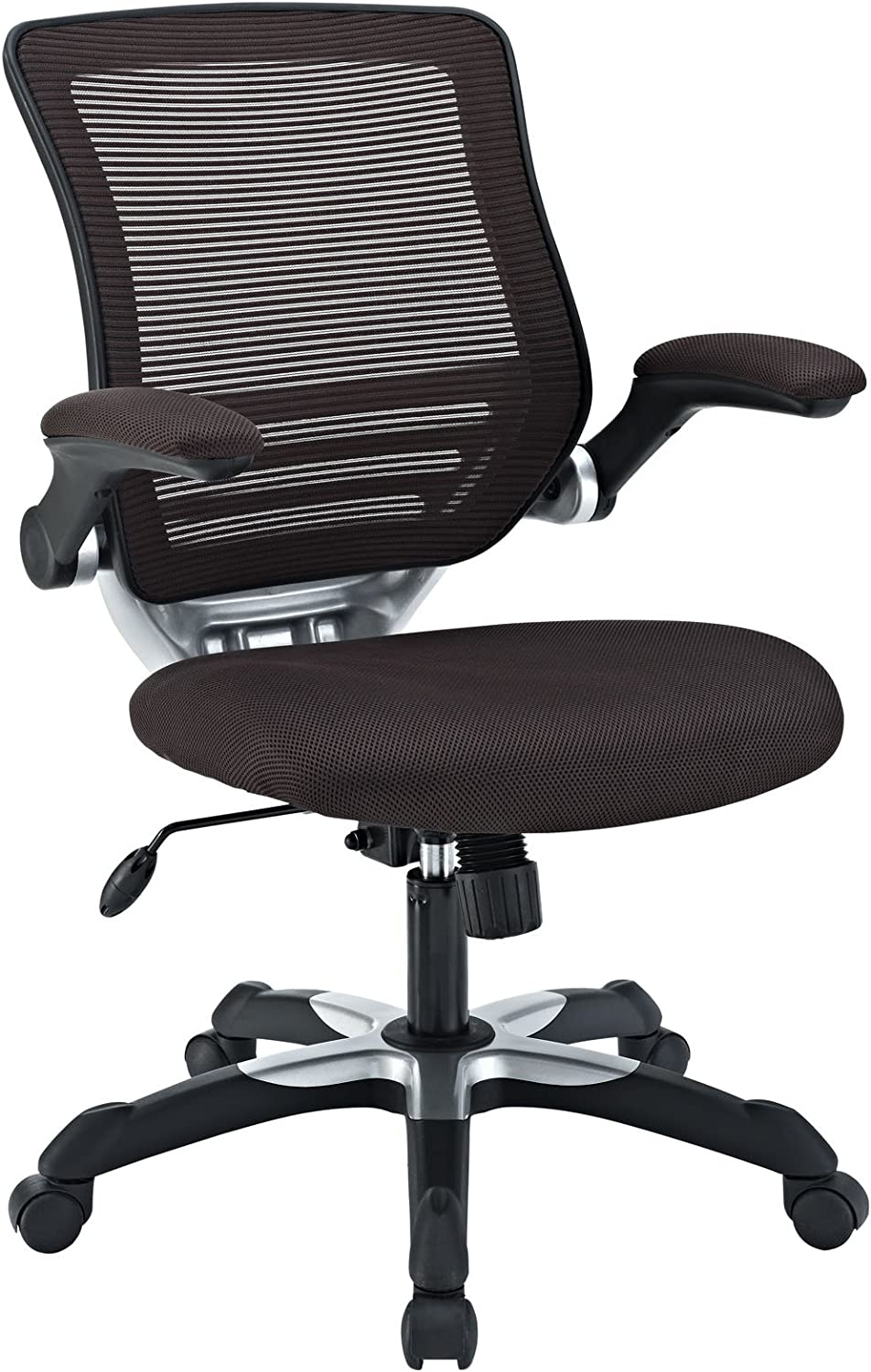 Modway Edge Mesh Back and Mesh Seat Office Chair In Black With Flip-Up Arms in Brown