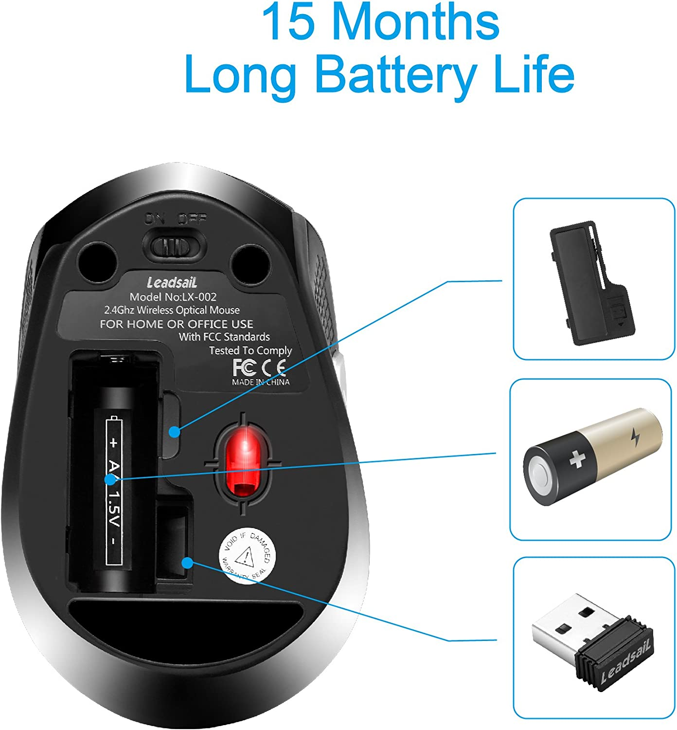6 Buttons Battery Included,1600DPI with 3 Adjustable Levels for ...
