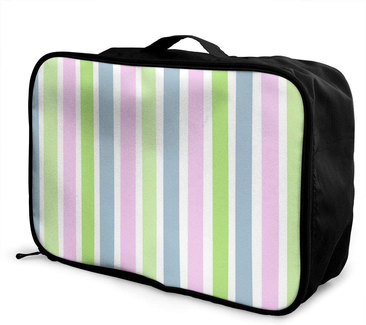 Yunshm Vertical Stripes Green Blue Pink Personalized Trolley Handbag Waterproof Unisex Large Capacity For Business Travel Storage