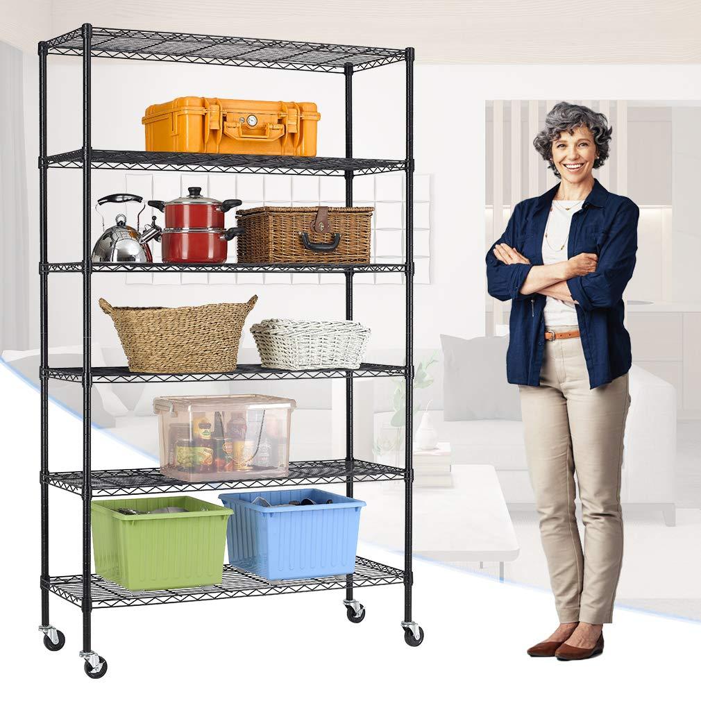 "4-Tier/Wire/Shelving/Unit Steel Large Metal Shelf Organizer Garage Storage Shelves Heavy Duty NSF Certified Height Adjustable Commercial Grade Metal Rack 4000 LBS Capacity 24/""D x 48/""W x 72/""H,Black"