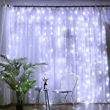 TECHVIDA Luces de Cortina 200LED 3m* 3m, impermeable IP54 Luces al Aire Libre de Blanco Resistente al Agua, Codena de Luces de Navidad con 8 Modelos de Iluminación para la Decoración de Fiestas y Bodas (Blanco)