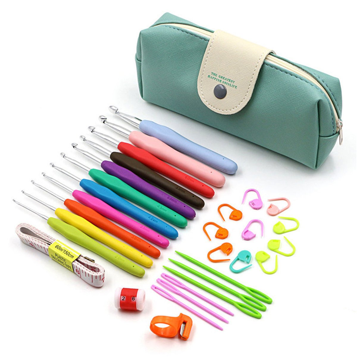 WCHAOEN 30Pcs 2-8mm Crochet Hooks Yarn Knitting Needles Sewing Tools Kit with Comfort Rubber Grip Accessories Tool