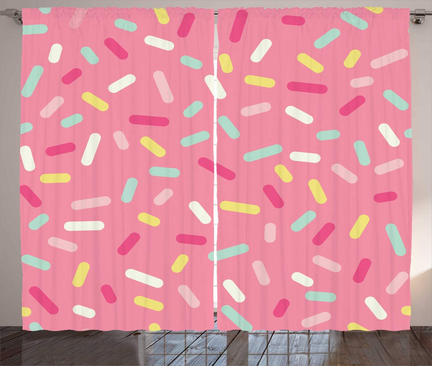 Ambesonne Pink and White Curtains, Abstract Pattern of Colorful Donut Sprinkles Tasty Food Bakery Theme, Living Room Bedroom Window Drapes 2 Panel Set, 108