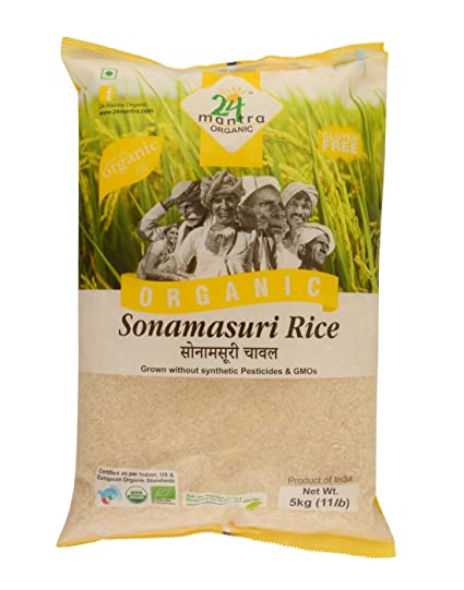 24 Mantra Organic Sonamasuri Raw Rice Polished, 5kg