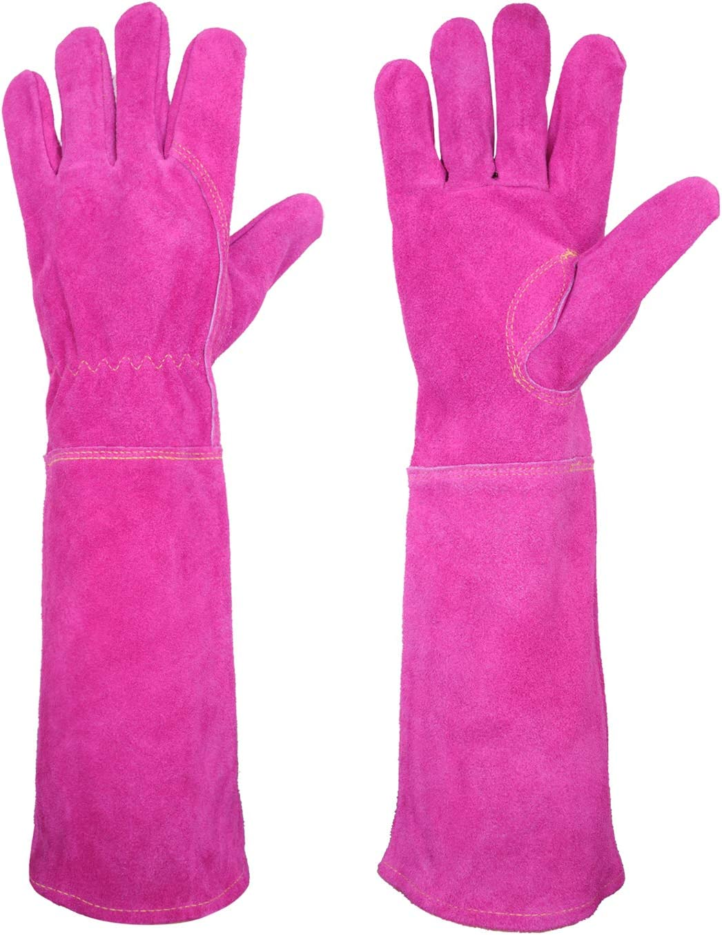 Rose Pruning Gloves for Women Long Sleeve Thorn Proof Cowhide Leather Gardening Gloves Gauntlet Garden Gloves (Medium, Rose)