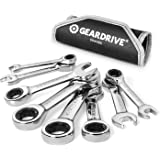GEARDRIVE Stubby Ratcheting Combination Wrench Set, SAE, 8-Piece, 5/16'' to 3/4'', Chrome Vanadium Steel, with Rolling pouch