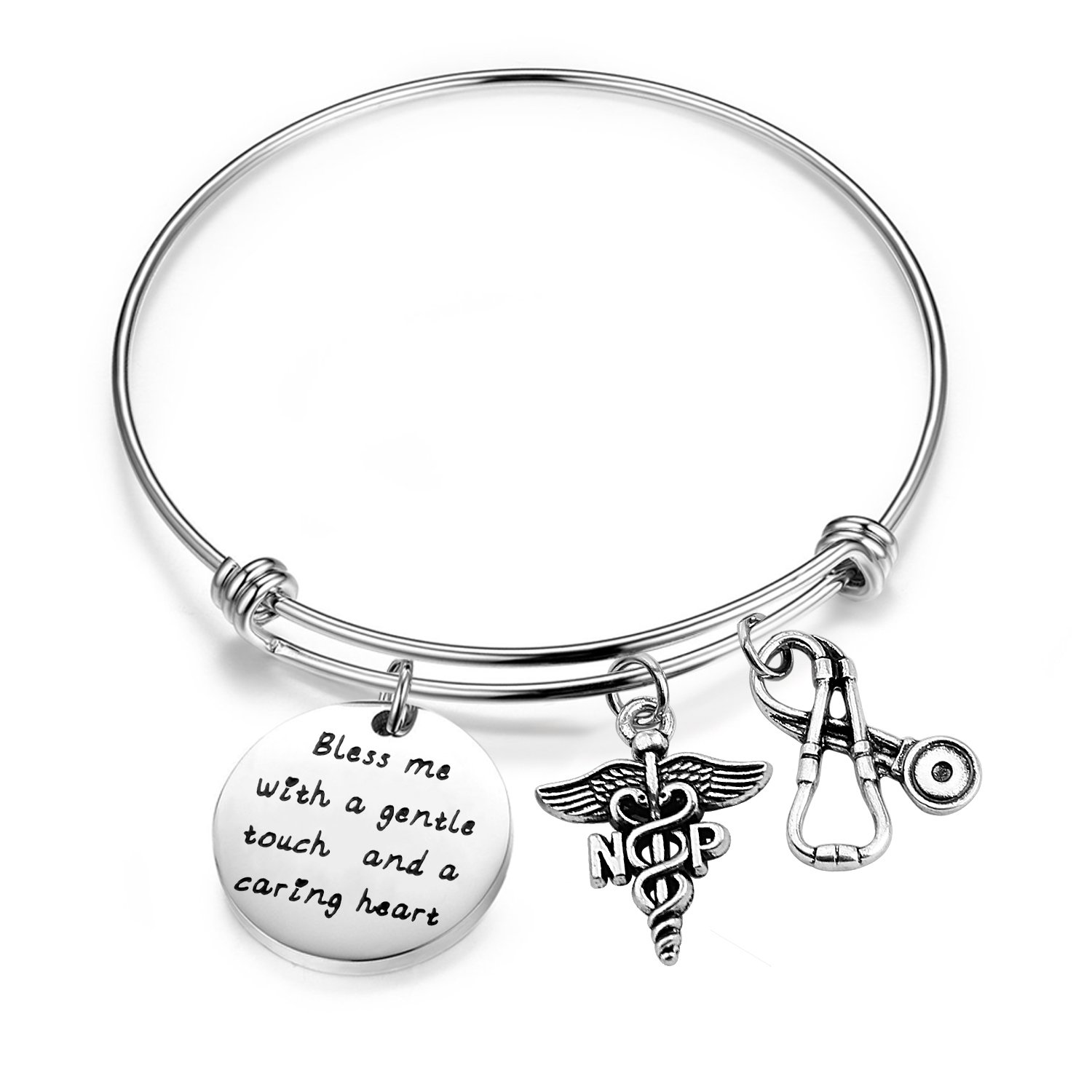 Gzrlyf NP Bracelet Nurse Practitioner Bracelet Bless Me With A Gentle Touch And A Caring Heart Charm Jewelry NP Graduation Gift (NP bracelet)